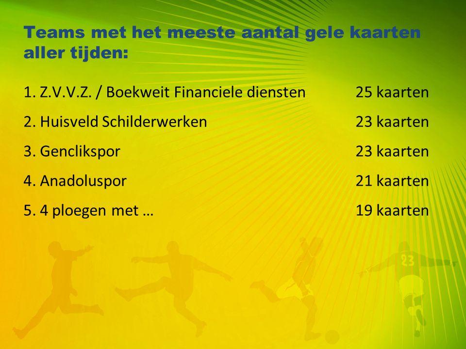 Teams met het meeste aantal gele kaarten aller tijden: 1. Z.V.V.Z. / Boekweit Financiele diensten25 kaarten 2. Huisveld Schilderwerken23 kaarten 3. Ge