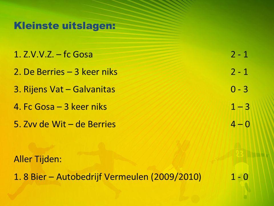 Kleinste uitslagen: 1. Z.V.V.Z. – fc Gosa2 - 1 2. De Berries – 3 keer niks 2 - 1 3. Rijens Vat – Galvanitas0 - 3 4. Fc Gosa – 3 keer niks1 – 3 5. Zvv