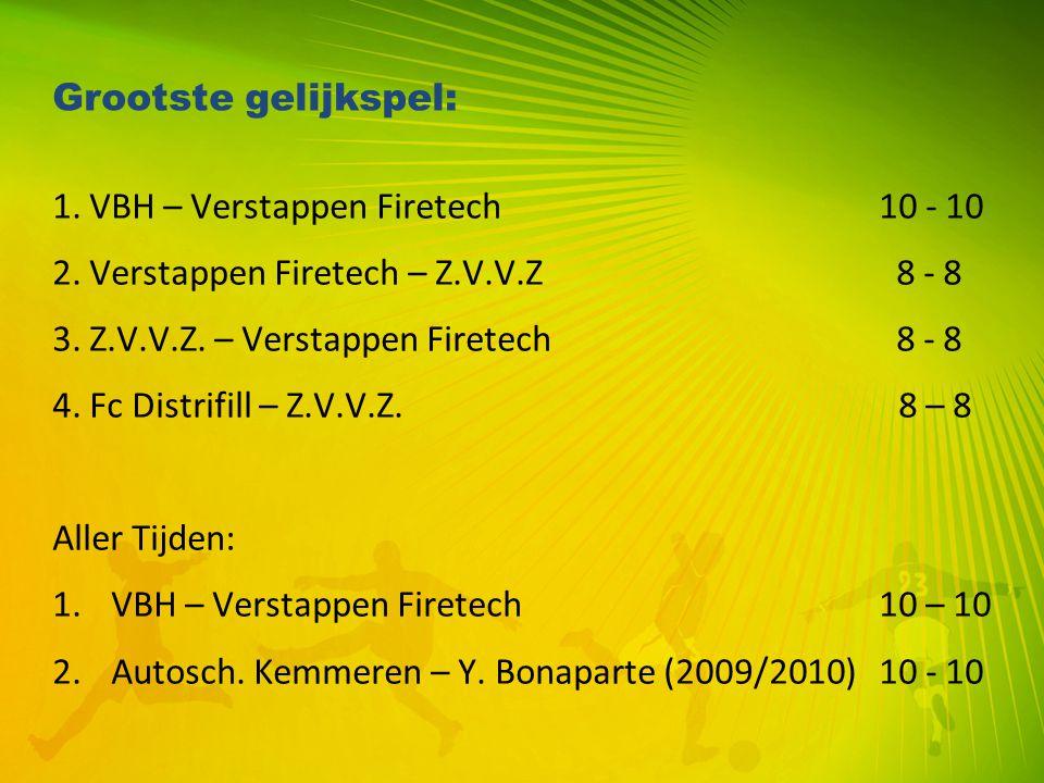Grootste gelijkspel: 1. VBH – Verstappen Firetech10 - 10 2. Verstappen Firetech – Z.V.V.Z 8 - 8 3. Z.V.V.Z. – Verstappen Firetech 8 - 8 4. Fc Distrifi