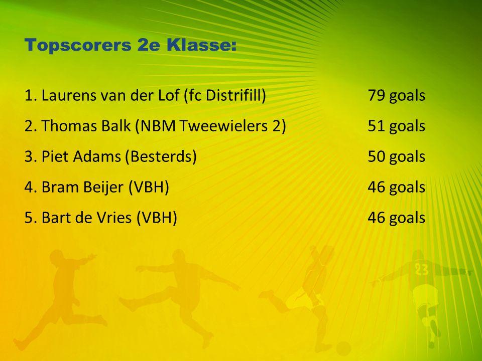 Topscorers 2e Klasse: 1. Laurens van der Lof (fc Distrifill)79 goals 2. Thomas Balk (NBM Tweewielers 2) 51 goals 3. Piet Adams (Besterds)50 goals 4. B