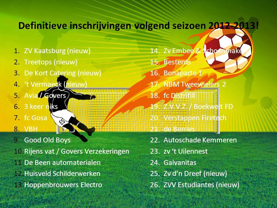 Definitieve inschrijvingen volgend seizoen 2012-2013! 1.ZV Kaatsburg (nieuw)14.Zv Embee & Schoenmakers 2.Treetops (nieuw)15.Besterds 3.De Kort Caterin