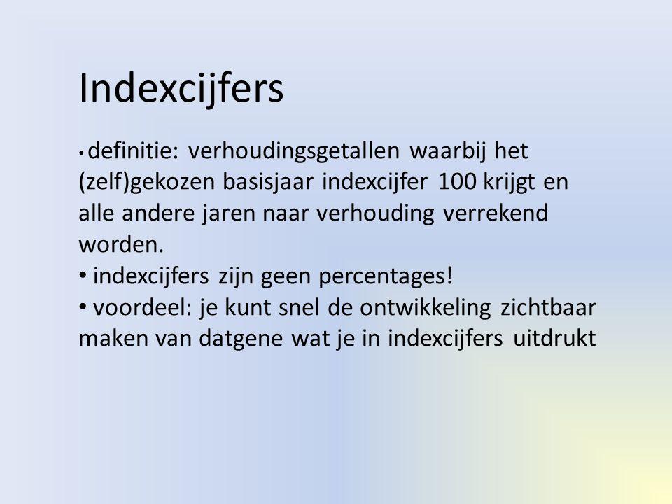 Indexcijfers • definitie: verhoudingsgetallen waarbij het (zelf)gekozen basisjaar indexcijfer 100 krijgt en alle andere jaren naar verhouding verreken