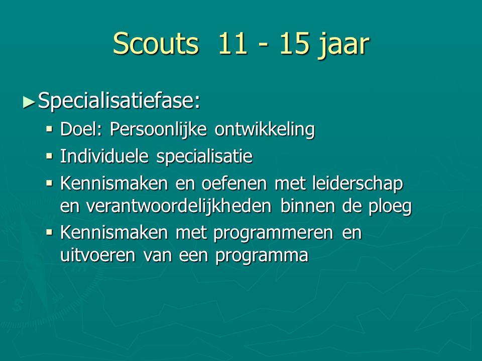 Scouts 11 - 15 jaar ► Specialisatiefase:  Doel: Persoonlijke ontwikkeling  Individuele specialisatie  Kennismaken en oefenen met leiderschap en ver