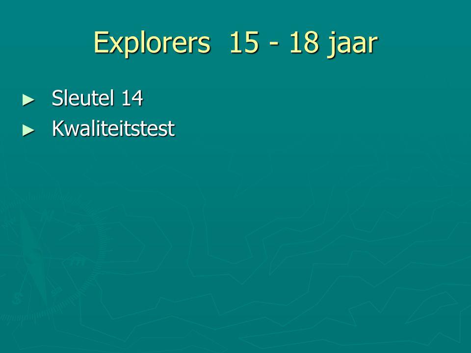 Explorers 15 - 18 jaar ► Sleutel 14 ► Kwaliteitstest