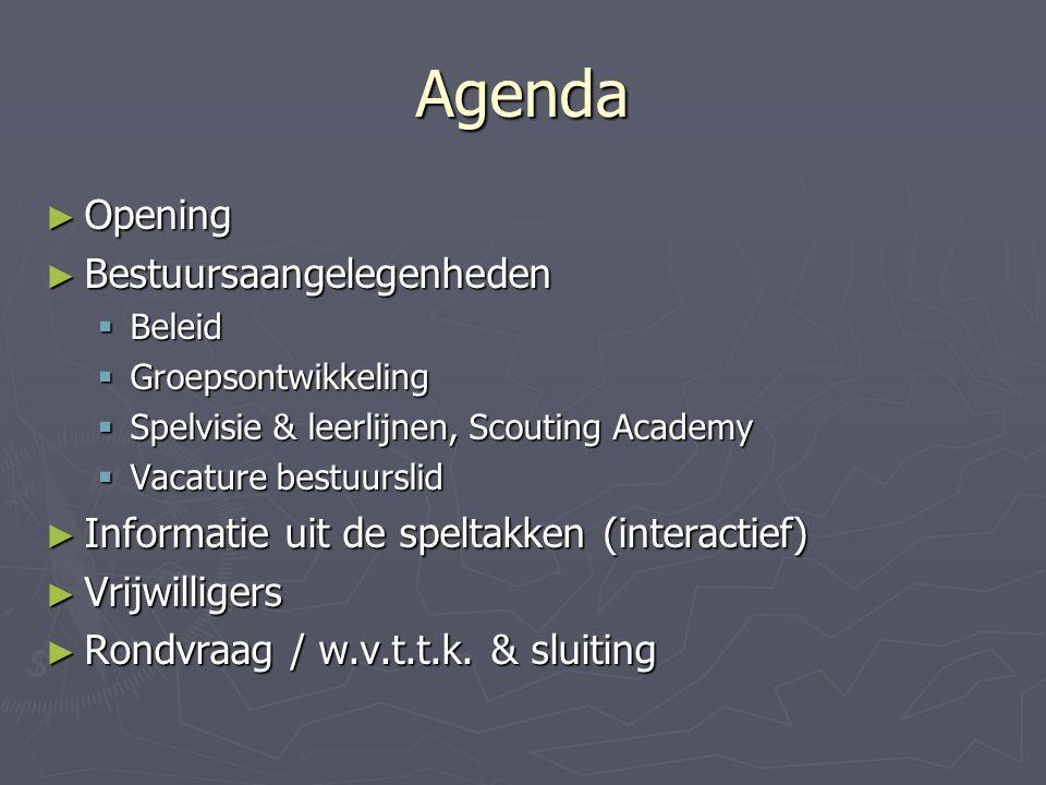 Agenda ► Opening ► Bestuursaangelegenheden  Beleid  Groepsontwikkeling  Spelvisie & leerlijnen, Scouting Academy  Vacature bestuurslid ► Informati