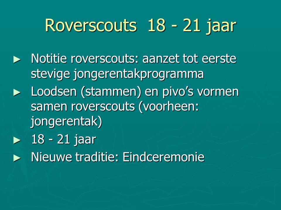 Roverscouts 18 - 21 jaar ► Notitie roverscouts: aanzet tot eerste stevige jongerentakprogramma ► Loodsen (stammen) en pivo's vormen samen roverscouts