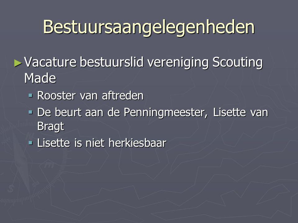 Bestuursaangelegenheden ► Vacature bestuurslid vereniging Scouting Made  Rooster van aftreden  De beurt aan de Penningmeester, Lisette van Bragt  L