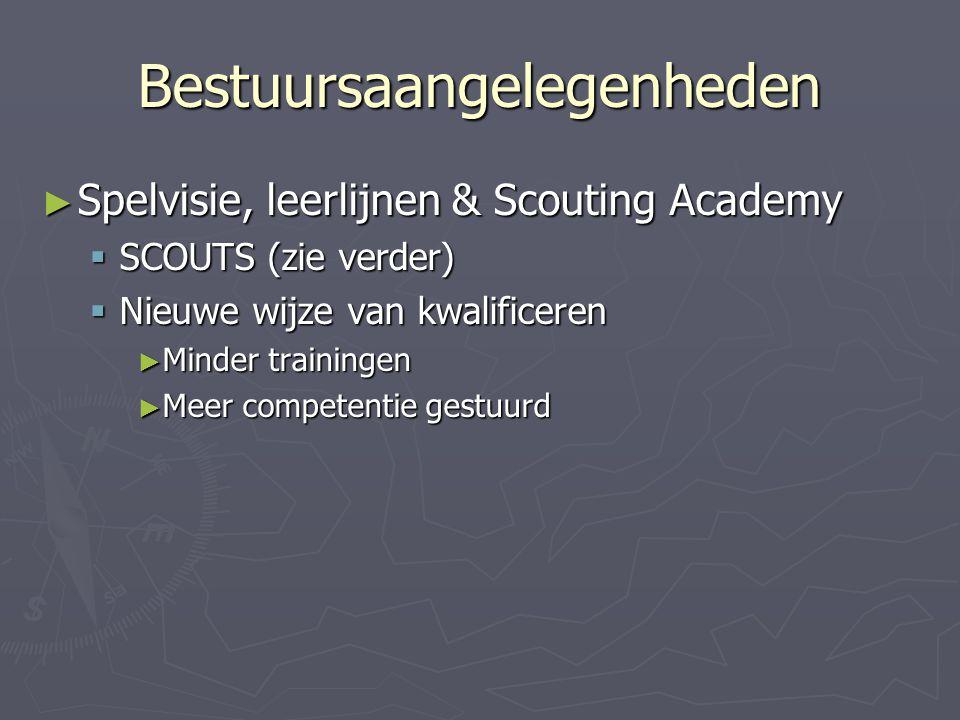 Bestuursaangelegenheden ► Spelvisie, leerlijnen & Scouting Academy  SCOUTS (zie verder)  Nieuwe wijze van kwalificeren ► Minder trainingen ► Meer co