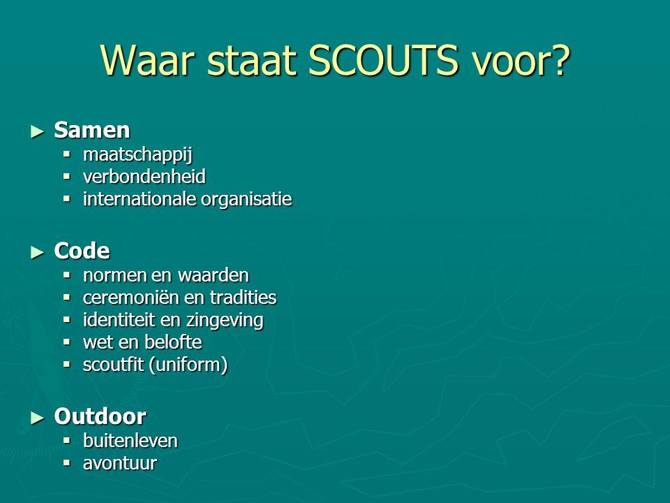 Scouts 11 - 15 jaar ► Specialisatiefase:  Doel: Persoonlijke ontwikkeling  Individuele specialisatie  Kennismaken en oefenen met leiderschap en verantwoordelijkheden binnen de ploeg  Kennismaken met programmeren en uitvoeren van een programma