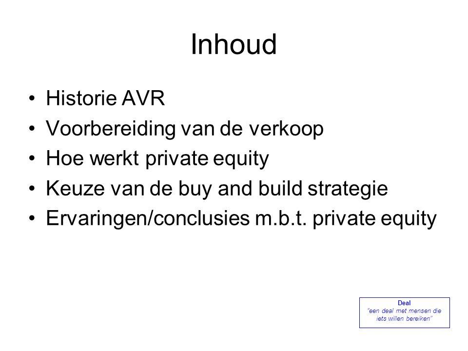 1968197319921998 1999 200319792006 23 Rijnmond gemeenten richten AVR op PrivatiseringOvernames Consolidatie Oprichting Holding AVR Bedrijven Verkoop AVR aan KKR, CVC, ONG en ICG.
