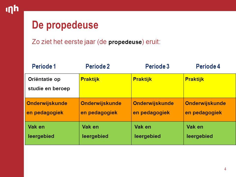 De propedeuse 4 Oriëntatie op studie en beroep Praktijk Onderwijskunde en pedagogiek Onderwijskunde en pedagogiek Onderwijskunde en pedagogiek Onderwi