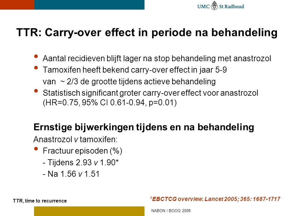 • Aantal recidieven blijft lager na stop behandeling met anastrozol • Tamoxifen heeft bekend carry-over effect in jaar 5-9 van ~ 2/3 de grootte tijden