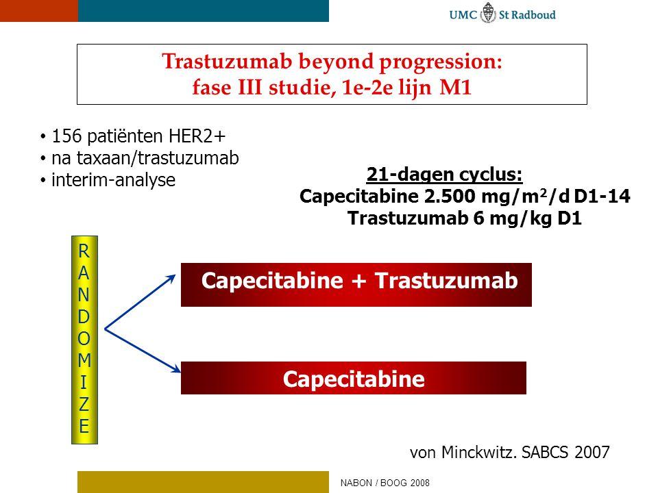 • 156 patiënten HER2+ • na taxaan/trastuzumab • interim-analyse RANDOMIZERANDOMIZE Capecitabine + Trastuzumab Capecitabine Trastuzumab beyond progress