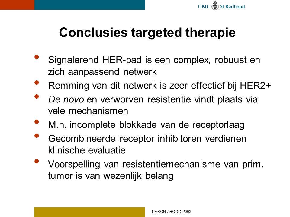 Conclusies targeted therapie • Signalerend HER-pad is een complex, robuust en zich aanpassend netwerk • Remming van dit netwerk is zeer effectief bij
