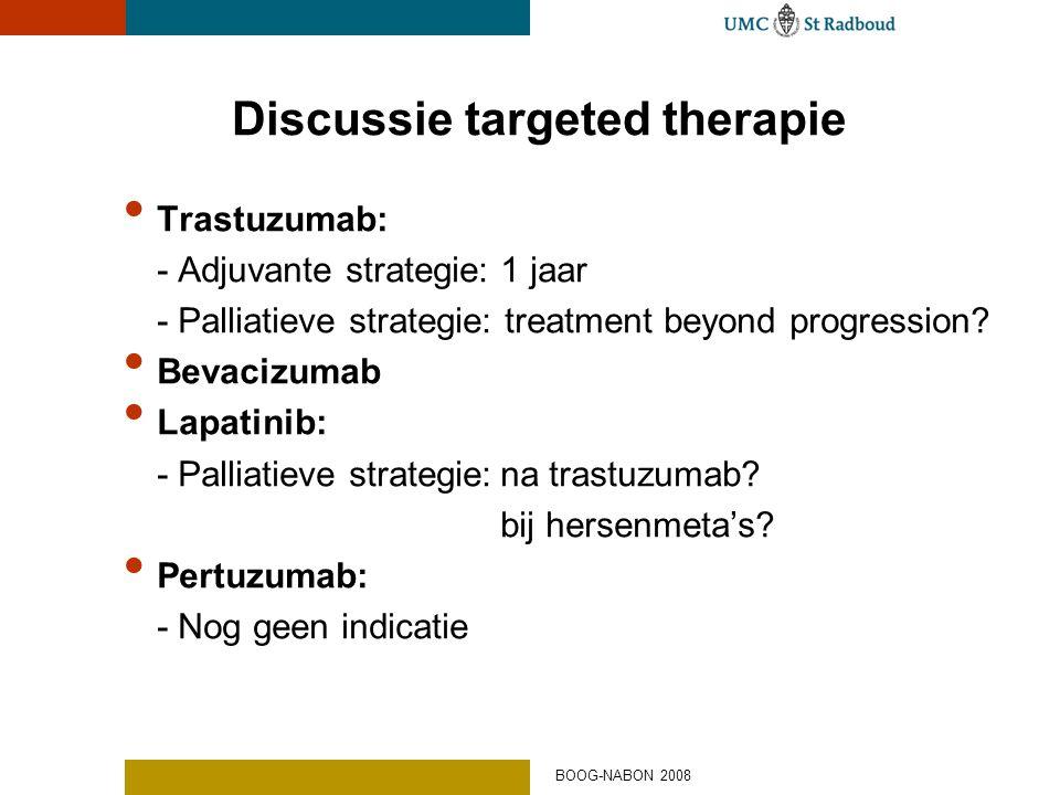 Discussie targeted therapie • Trastuzumab: - Adjuvante strategie: 1 jaar - Palliatieve strategie: treatment beyond progression? • Bevacizumab • Lapati