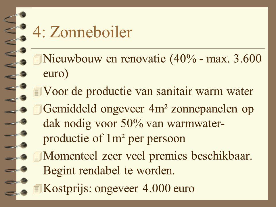 3: Plaatsen van dakisolatie 4 Nieuwbouw en renovatie (40% - max. 2.770 euro) 4 Verplicht via aannemer 4 Minstens ongeveer 12 cm minerale wol of vergel