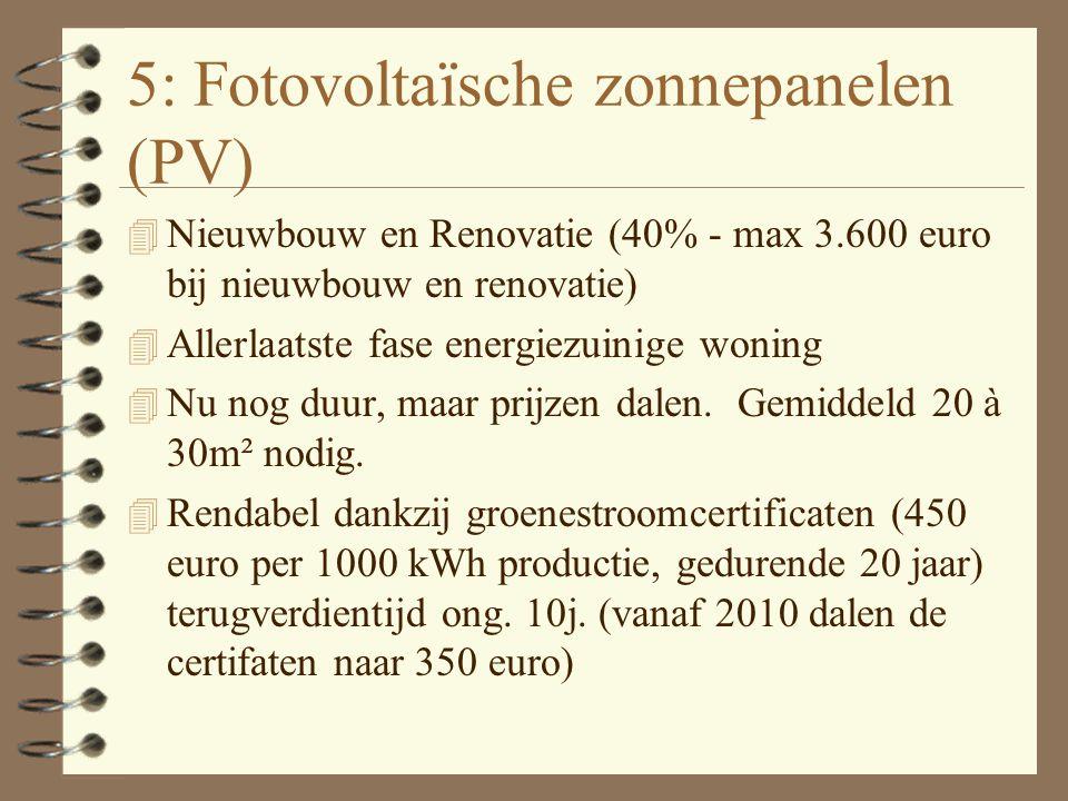 4: Zonneboiler 4 Nieuwbouw en renovatie (40% - max. 3.600 euro) 4 Voor de productie van sanitair warm water 4 Gemiddeld ongeveer 4m² zonnepanelen op d