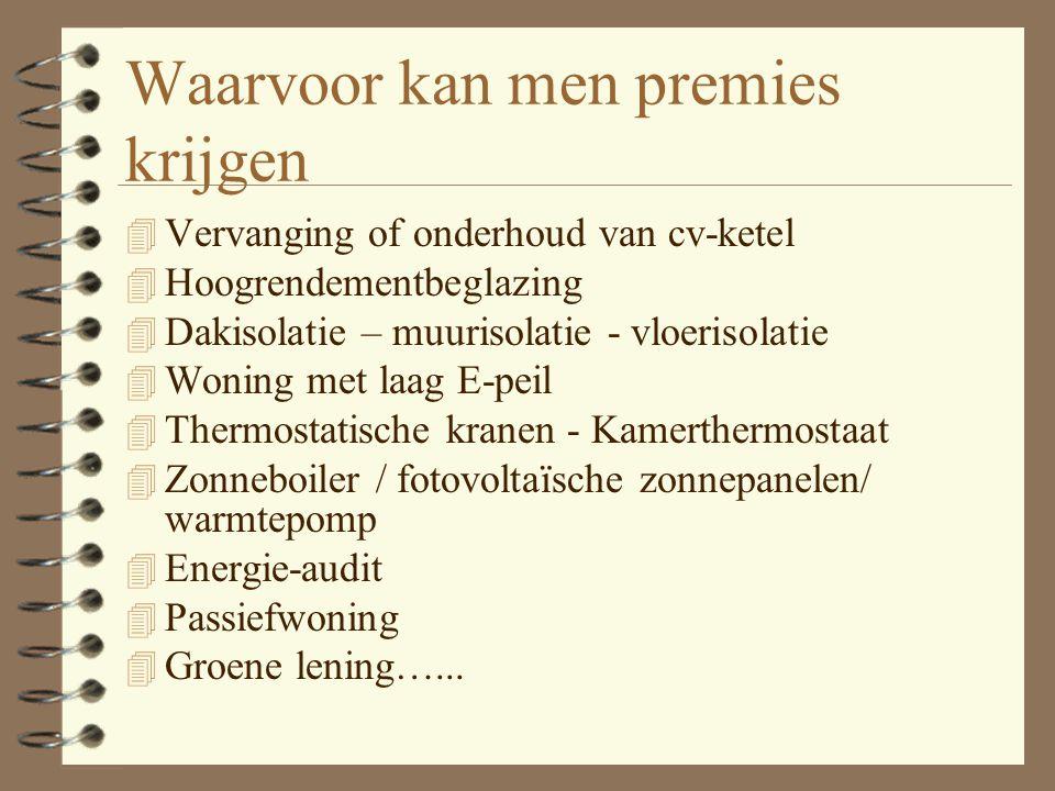 Van wie mag u premies verwachten in het Vlaams Gewest? 4 De fiscus 4 Uw distributienetbeheerder 4 Uw gemeente 4 Uw provinciebestuur 4 De Vlaamse overh
