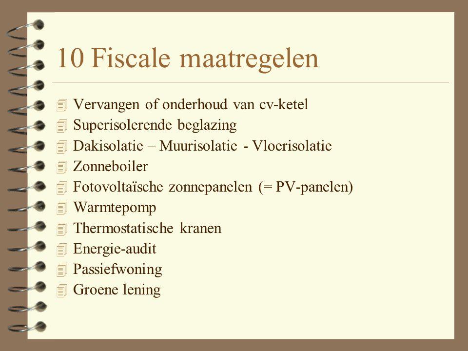 Vlaamse dakisolatiepremie 4 Premie van 500 euro voor de plaatsing van dakisolatie in bestaande woning (minstens 40 m²).