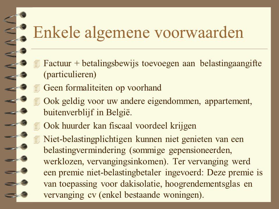 Enkele algemene voorwaarden 4 Factuur + betalingsbewijs toevoegen aan belastingaangifte (particulieren) 4 Geen formaliteiten op voorhand 4 Ook geldig voor uw andere eigendommen, appartement, buitenverblijf in België.