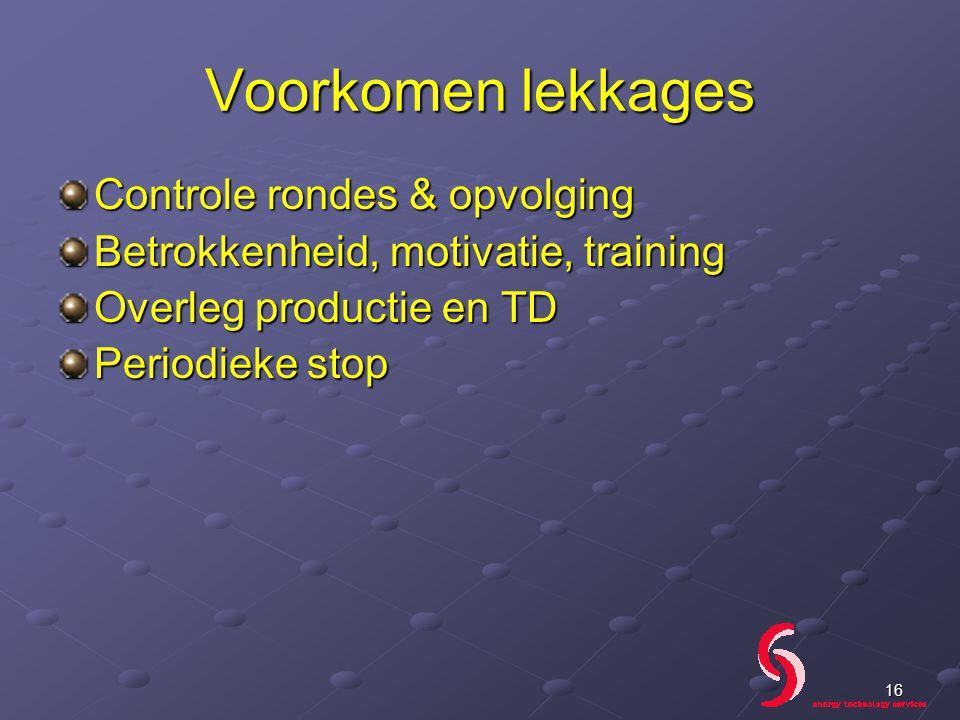 Voorkomen lekkages Controle rondes & opvolging Betrokkenheid, motivatie, training Overleg productie en TD Periodieke stop 16