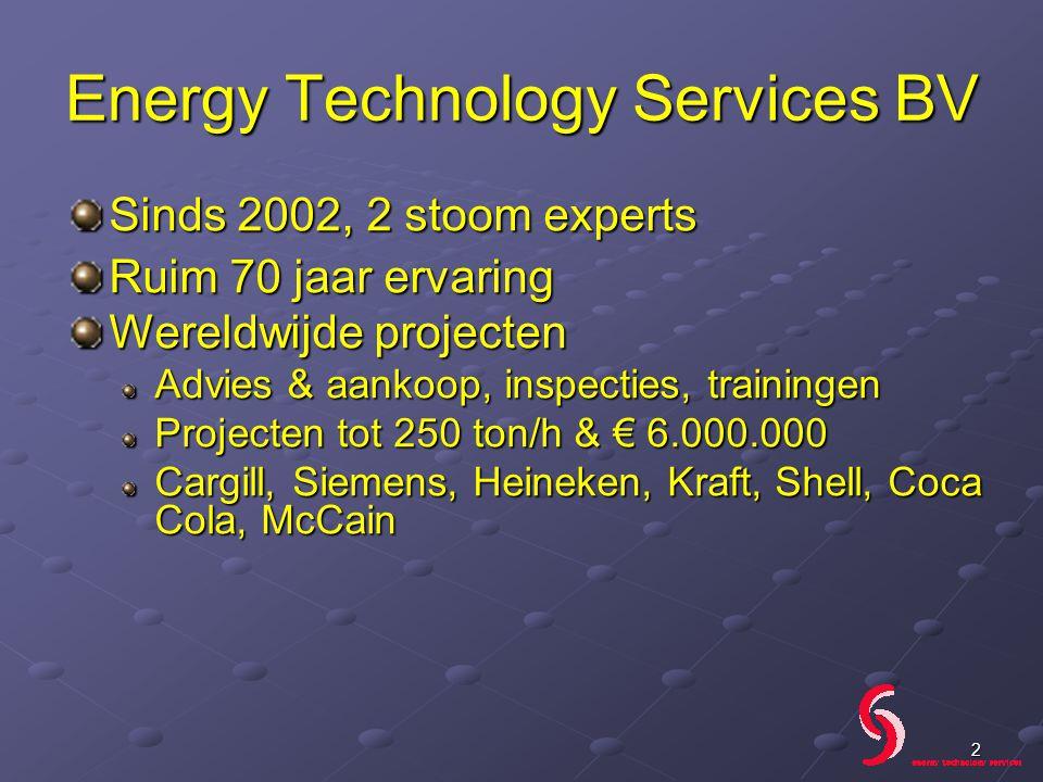 Sinds 2002, 2 stoom experts Ruim 70 jaar ervaring Wereldwijde projecten Advies & aankoop, inspecties, trainingen Projecten tot 250 ton/h & € 6.000.000 Cargill, Siemens, Heineken, Kraft, Shell, Coca Cola, McCain 2