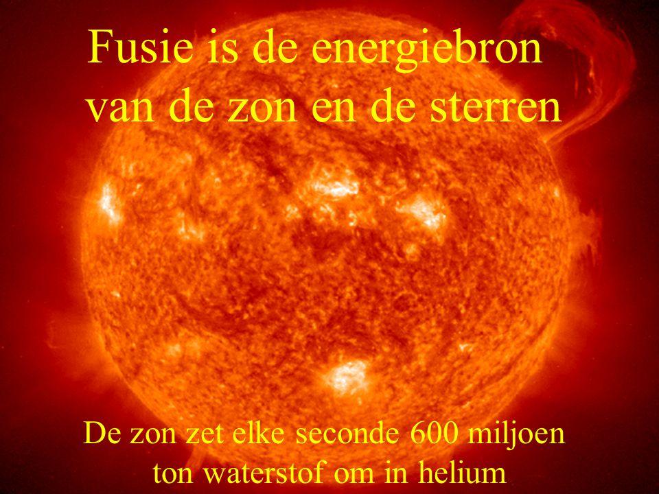 Fusie is de energiebron van de zon en de sterren De zon zet elke seconde 600 miljoen ton waterstof om in helium