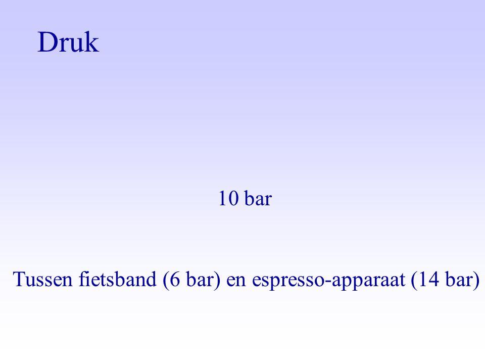 Druk 10 bar Tussen fietsband (6 bar) en espresso-apparaat (14 bar)