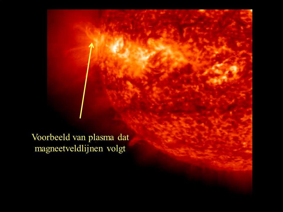 Voorbeeld van plasma dat magneetveldlijnen volgt