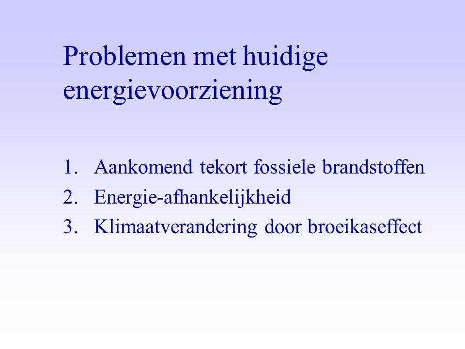 Problemen met huidige energievoorziening 1.Aankomend tekort fossiele brandstoffen 2.Energie-afhankelijkheid 3.Klimaatverandering door broeikaseffect
