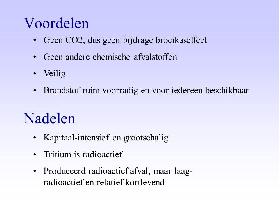 Voordelen •Geen CO2, dus geen bijdrage broeikaseffect •Geen andere chemische afvalstoffen •Veilig •Brandstof ruim voorradig en voor iedereen beschikba