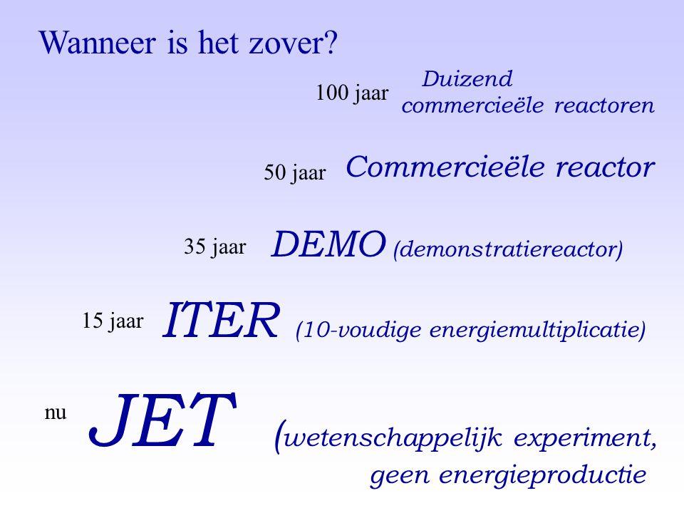 ITER (10-voudige energiemultiplicatie) DEMO (demonstratiereactor) Commercieële reactor Duizend commercieële reactoren JET ( wetenschappelijk experimen