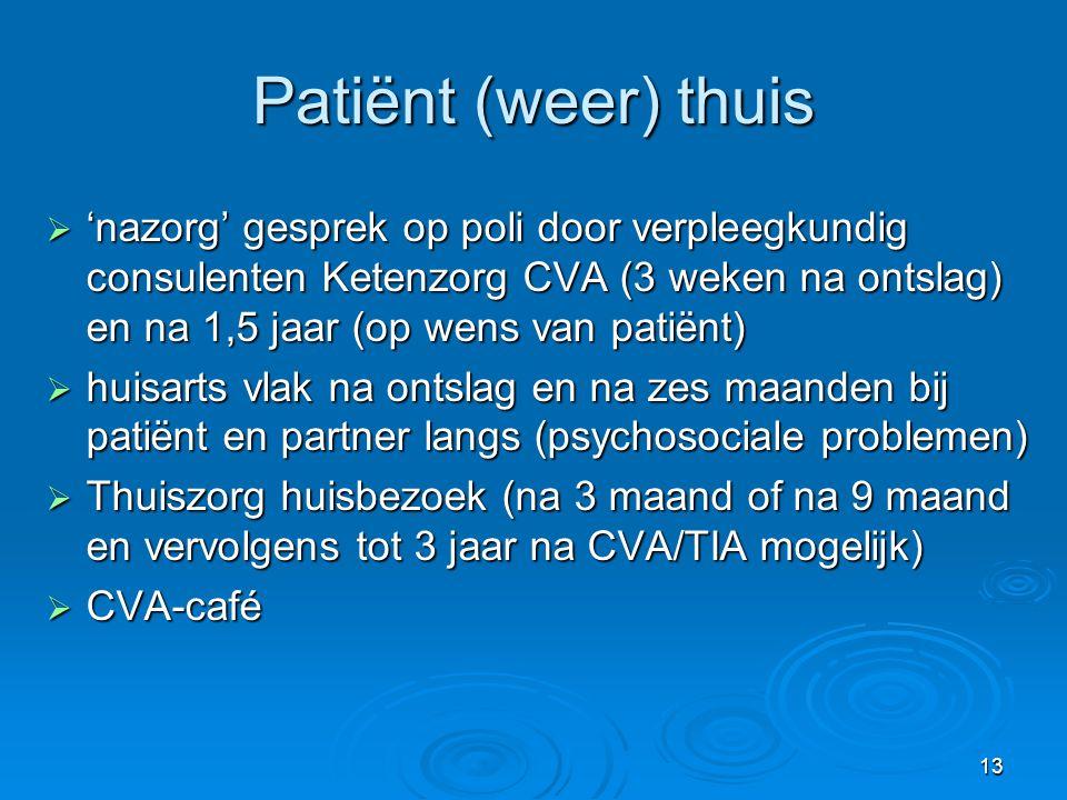 13 Patiënt (weer) thuis  'nazorg' gesprek op poli door verpleegkundig consulenten Ketenzorg CVA (3 weken na ontslag) en na 1,5 jaar (op wens van pati