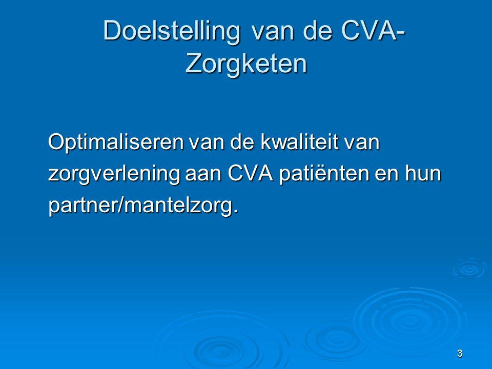 3 Doelstelling van de CVA- Zorgketen Doelstelling van de CVA- Zorgketen Optimaliseren van de kwaliteit van zorgverlening aan CVA patiënten en hun part