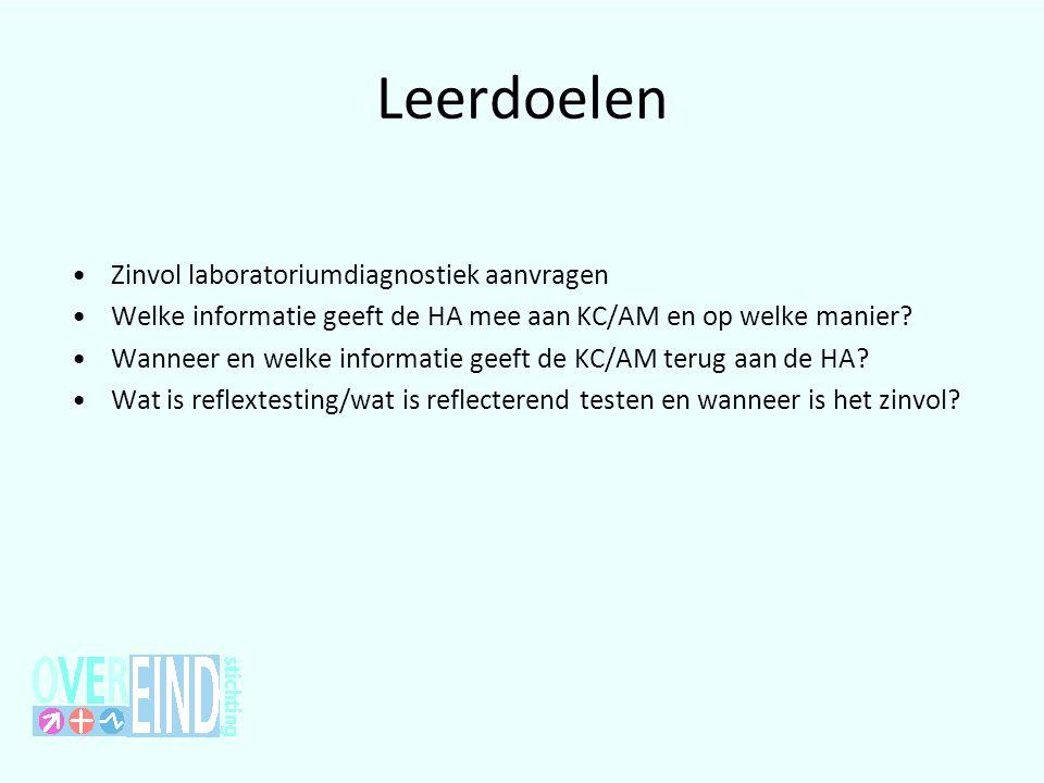 Leerdoelen •Zinvol laboratoriumdiagnostiek aanvragen •Welke informatie geeft de HA mee aan KC/AM en op welke manier? •Wanneer en welke informatie geef