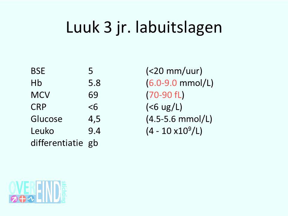 Luuk 3 jr. labuitslagen BSE 5(<20 mm/uur) Hb 5.8 (6.0-9.0 mmol/L) MCV 69(70-90 fL) CRP <6(<6 ug/L) Glucose 4,5( 4.5-5.6 mmol/L) Leuko 9.4(4 - 10 x10 9