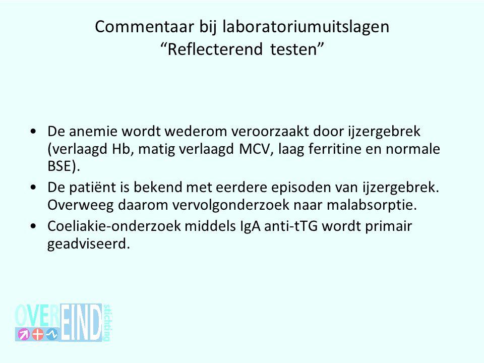 """Commentaar bij laboratoriumuitslagen """"Reflecterend testen"""" •De anemie wordt wederom veroorzaakt door ijzergebrek (verlaagd Hb, matig verlaagd MCV, laa"""