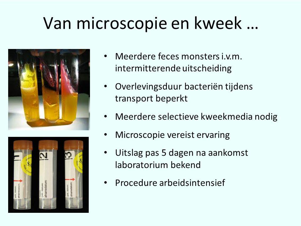 Van microscopie en kweek … • Meerdere feces monsters i.v.m. intermitterende uitscheiding • Overlevingsduur bacteriën tijdens transport beperkt • Meerd