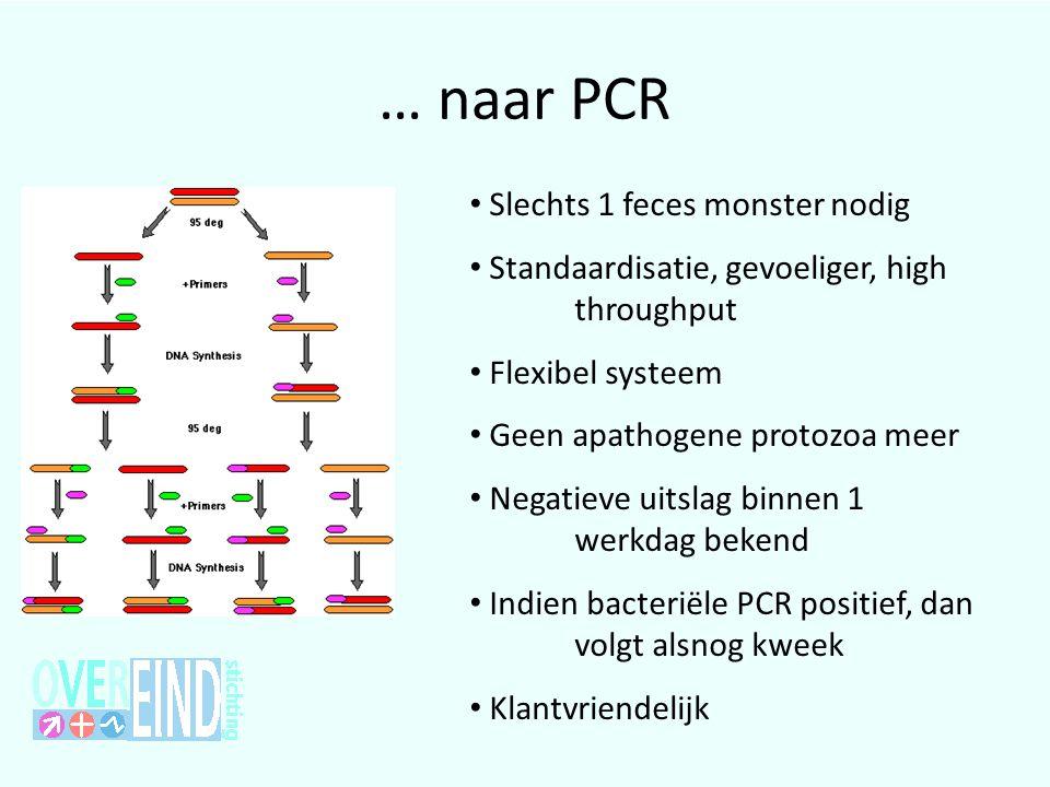 … naar PCR • Slechts 1 feces monster nodig • Standaardisatie, gevoeliger, high throughput • Flexibel systeem • Geen apathogene protozoa meer • Negatie