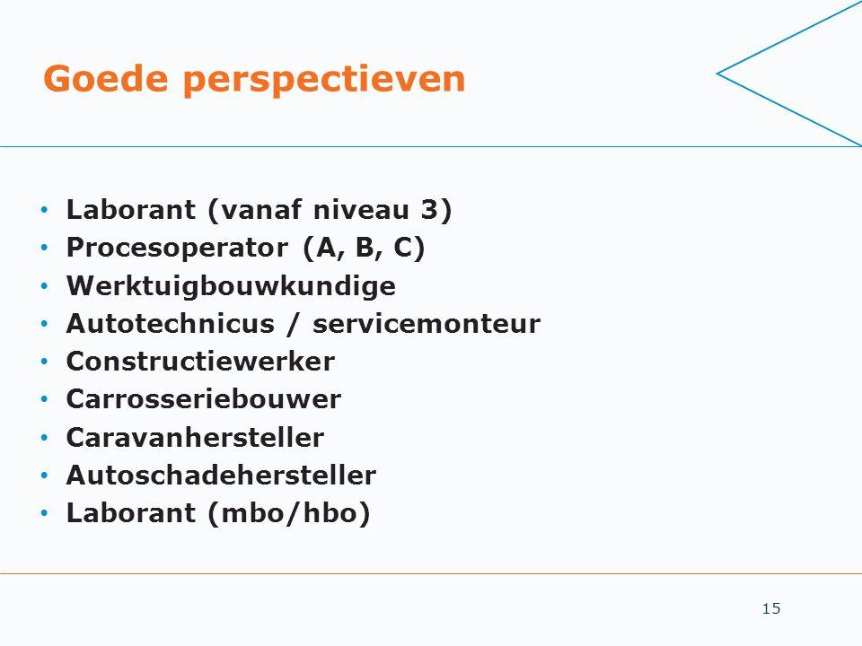 15 Goede perspectieven • Laborant (vanaf niveau 3) • Procesoperator (A, B, C) • Werktuigbouwkundige • Autotechnicus / servicemonteur • Constructiewerk