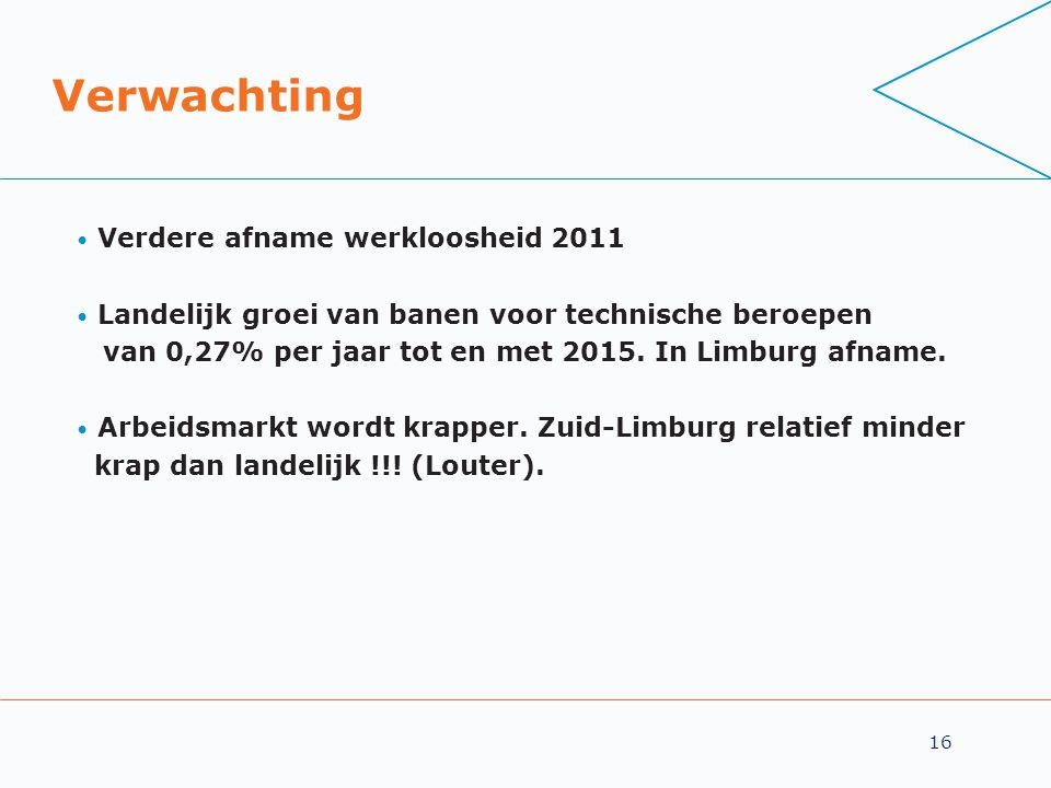16 Verwachting • Verdere afname werkloosheid 2011 • Landelijk groei van banen voor technische beroepen van 0,27% per jaar tot en met 2015.