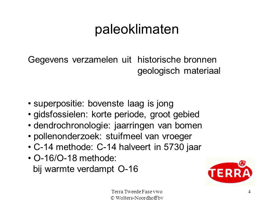 Terra Tweede Fase vwo © Wolters-Noordhoff bv 4 paleoklimaten Gegevens verzamelen uit historische bronnen geologisch materiaal • superpositie: bovenste laag is jong • gidsfossielen: korte periode, groot gebied • dendrochronologie: jaarringen van bomen • pollenonderzoek: stuifmeel van vroeger • C-14 methode: C-14 halveert in 5730 jaar • O-16/O-18 methode: bij warmte verdampt O-16