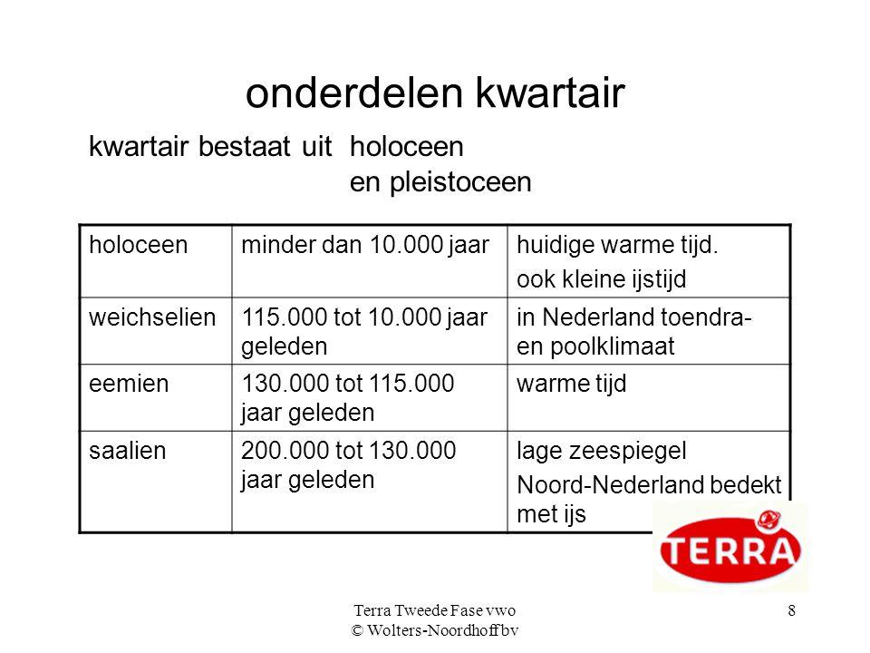 Terra Tweede Fase vwo © Wolters-Noordhoff bv 8 onderdelen kwartair holoceenminder dan 10.000 jaarhuidige warme tijd.