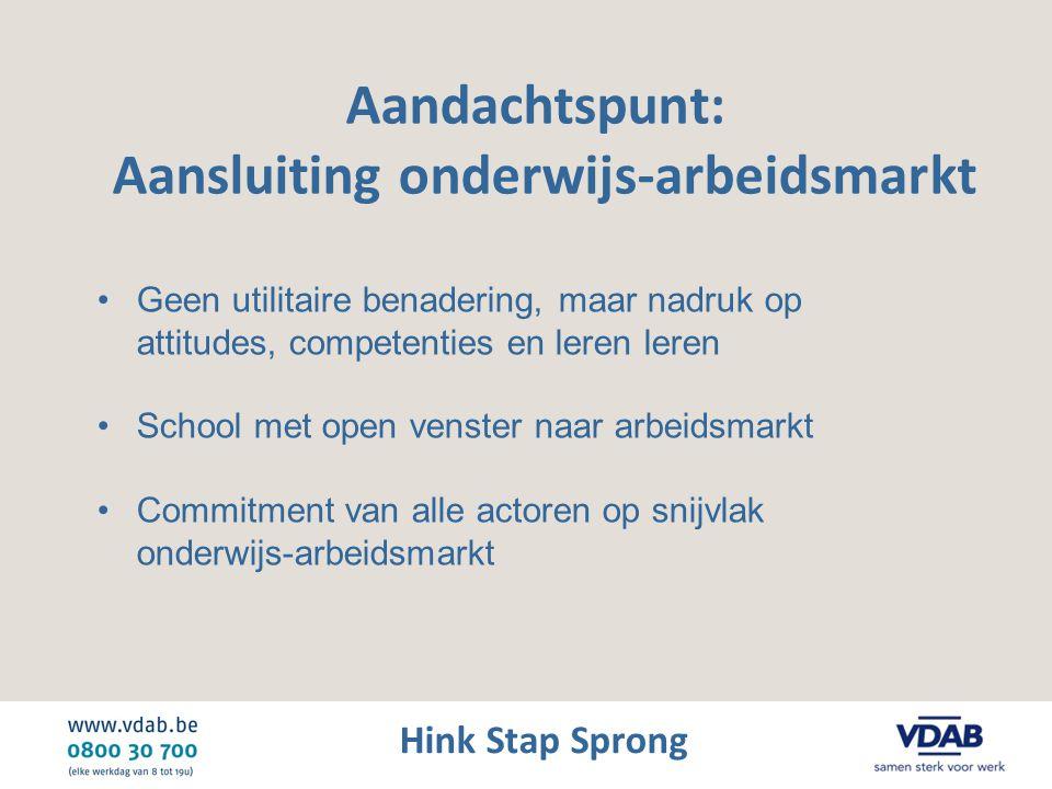 Hink Stap Sprong Aandachtspunt: Aansluiting onderwijs-arbeidsmarkt •Geen utilitaire benadering, maar nadruk op attitudes, competenties en leren leren