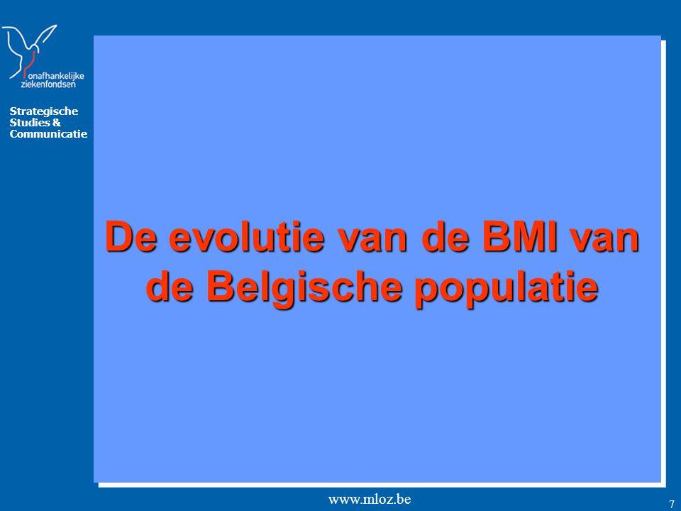 Strategische Studies & Communicatie www.mloz.be 7 De evolutie van de BMI van de Belgische populatie