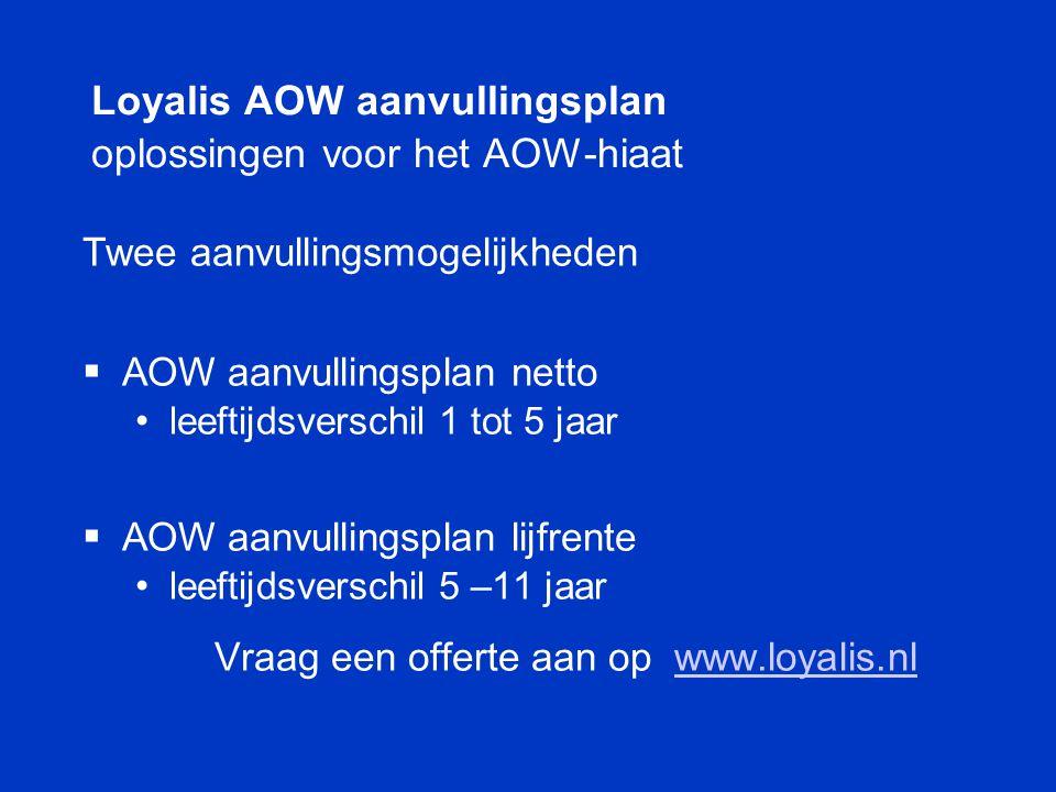 Loyalis AOW aanvullingsplan oplossingen voor het AOW-hiaat Twee aanvullingsmogelijkheden  AOW aanvullingsplan netto • leeftijdsverschil 1 tot 5 jaar