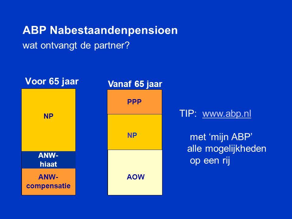 NP Voor 65 jaar ANW ABP Nabestaandenpensioen wat ontvangt de partner? ANW- compensatie ANW- hiaat TIP: www.abp.nlwww.abp.nl met 'mijn ABP' alle mogeli