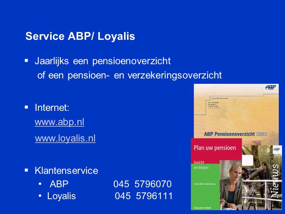 Service ABP/ Loyalis  Jaarlijks een pensioenoverzicht of een pensioen- en verzekeringsoverzicht  Internet: www.abp.nl www.abp.nl www.loyalis.nl  Kl
