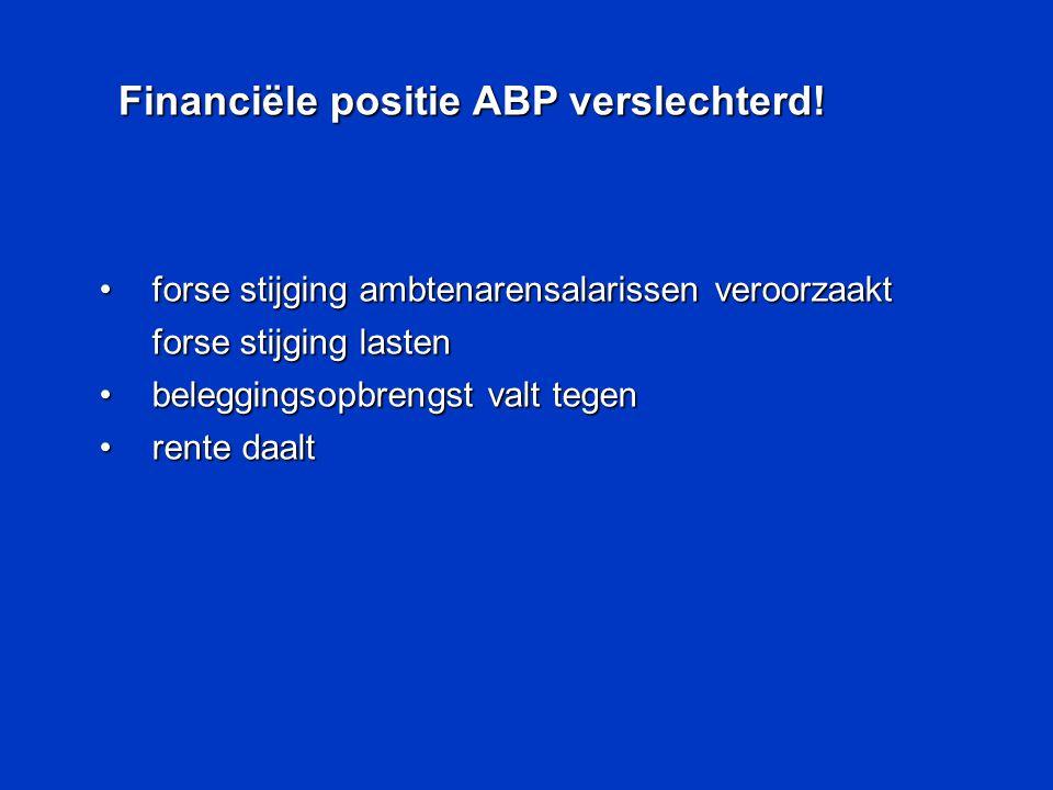 •forse stijging ambtenarensalarissen veroorzaakt forse stijging lasten •beleggingsopbrengst valt tegen •rente daalt Financiële positie ABP verslechter
