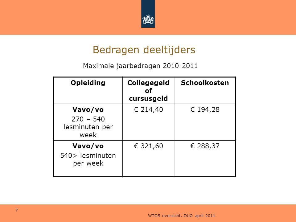 WTOS overzicht. DUO april 2011 7 Bedragen deeltijders OpleidingCollegegeld of cursusgeld Schoolkosten Vavo/vo 270 – 540 lesminuten per week € 214,40€